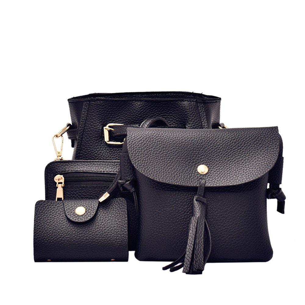 Simple Fashion Bag Female Bag Litchi Pattern Belt Four-Piece Bucket Bag - BLACK