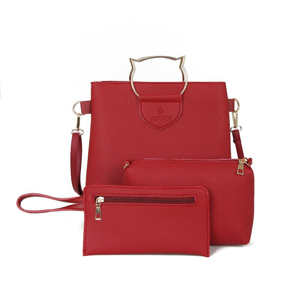 Female Handbags Three Sets of Simple Handbag Tote Bag Leisure Shoulder Big Bag - RED