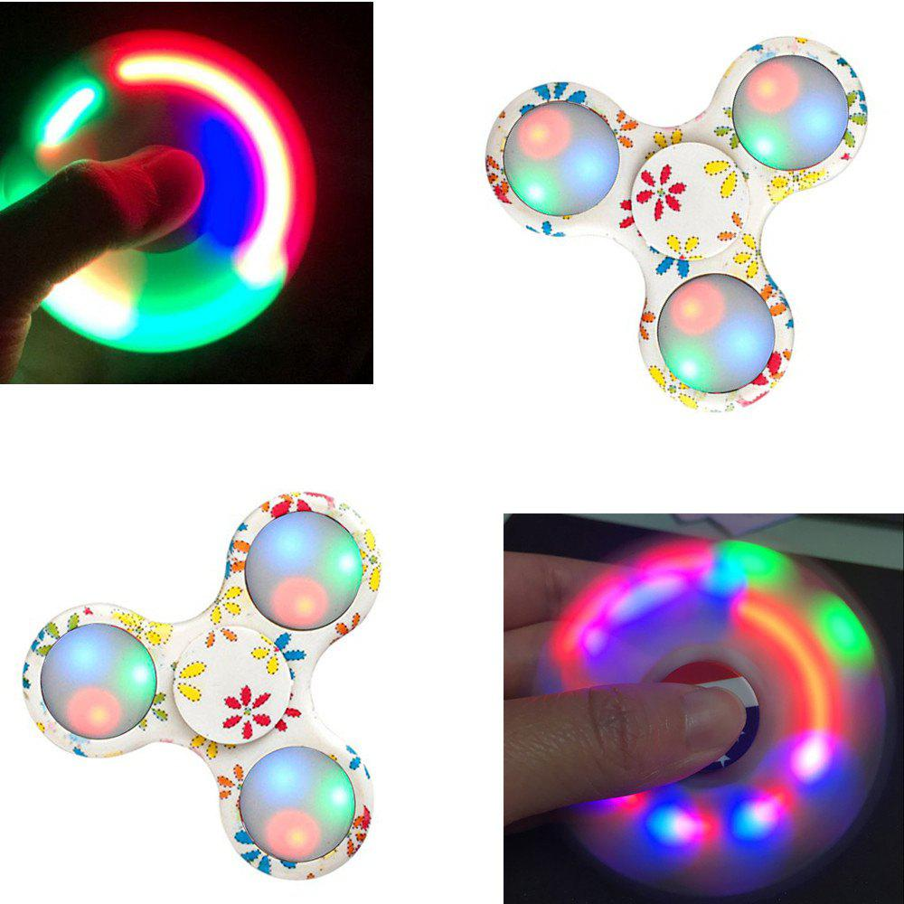 Fidgetec Premium Water Resistant Tri Fidget LED Hand Spinner With On/Off Switch and Mode Flashing LED Lights - OFF WHITE