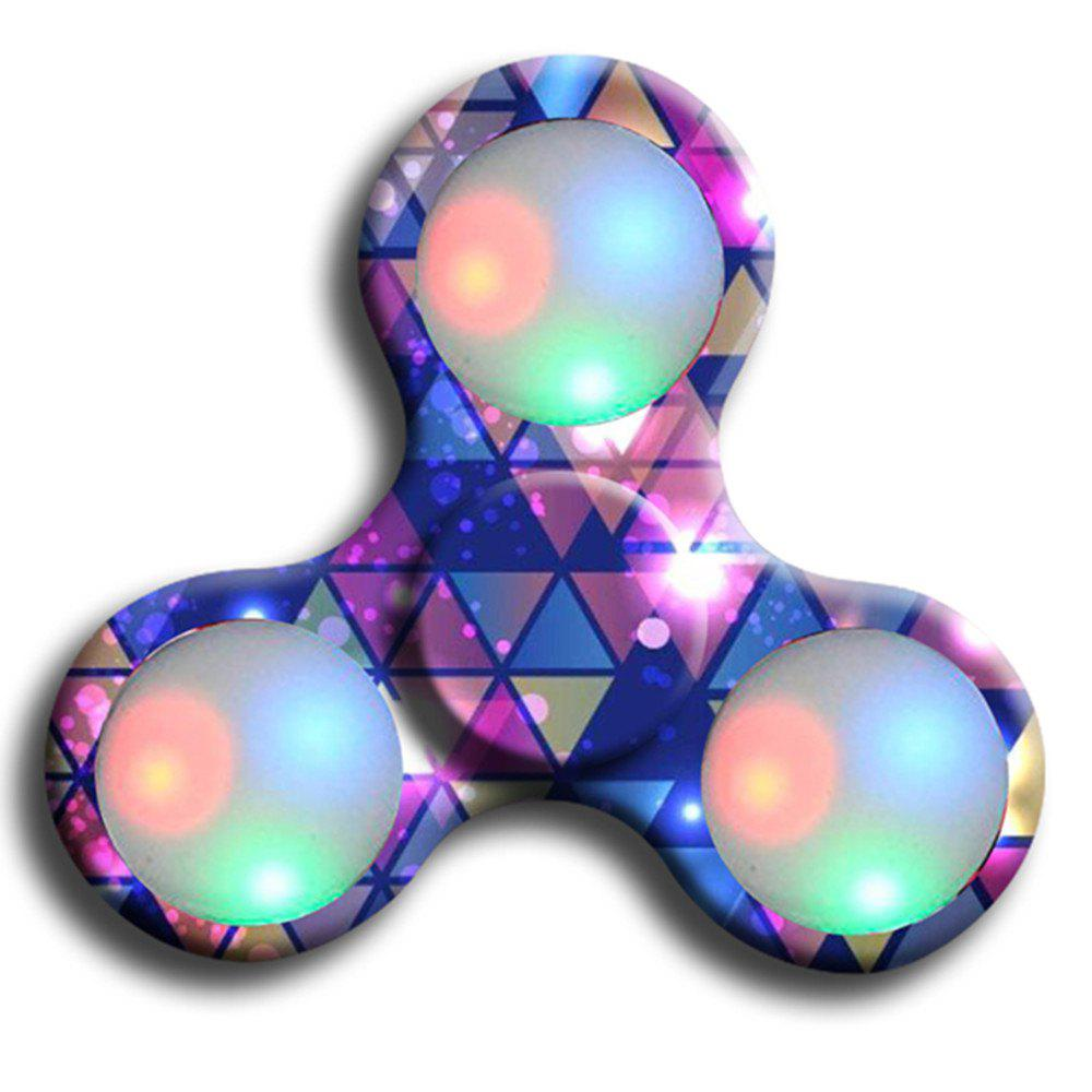 Fidgetec Premium Water Resistant Tri Fidget LED Hand Spinner With On/Off Switch and Mode Flashing LED Lights - PURPLE
