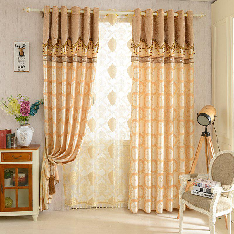 European Jacquard Blackout Curtains for Living Room Window Curtains for The Bedroom - YELLOW W300CM X L250CM (HOOKS TOP)