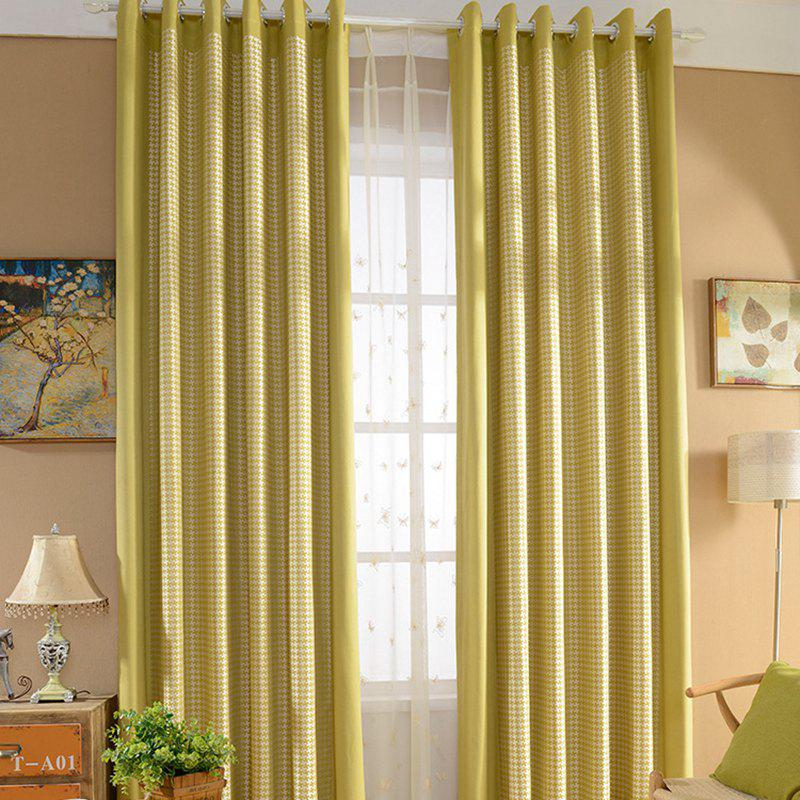 Yellow Rural Cotton Printing Blackout Curtains for Living Room Window Curtains for The Bedroom Curtains - GREEN W400CM X L250CM (HOOKS TOP)