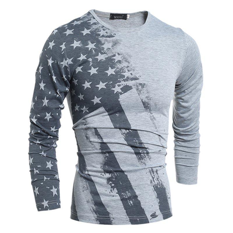 Spring and Autumn New Men'S Fashion Slim Printing Atmospheric Long-Sleeved T-Shirt