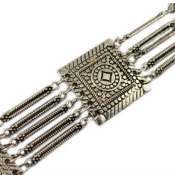 Tribal Bohemian Body Jewelry Silver Plated 5 Layers Pattern Vintage Flower Belly Dance Belt Chain Waist Jewelry - SILVER