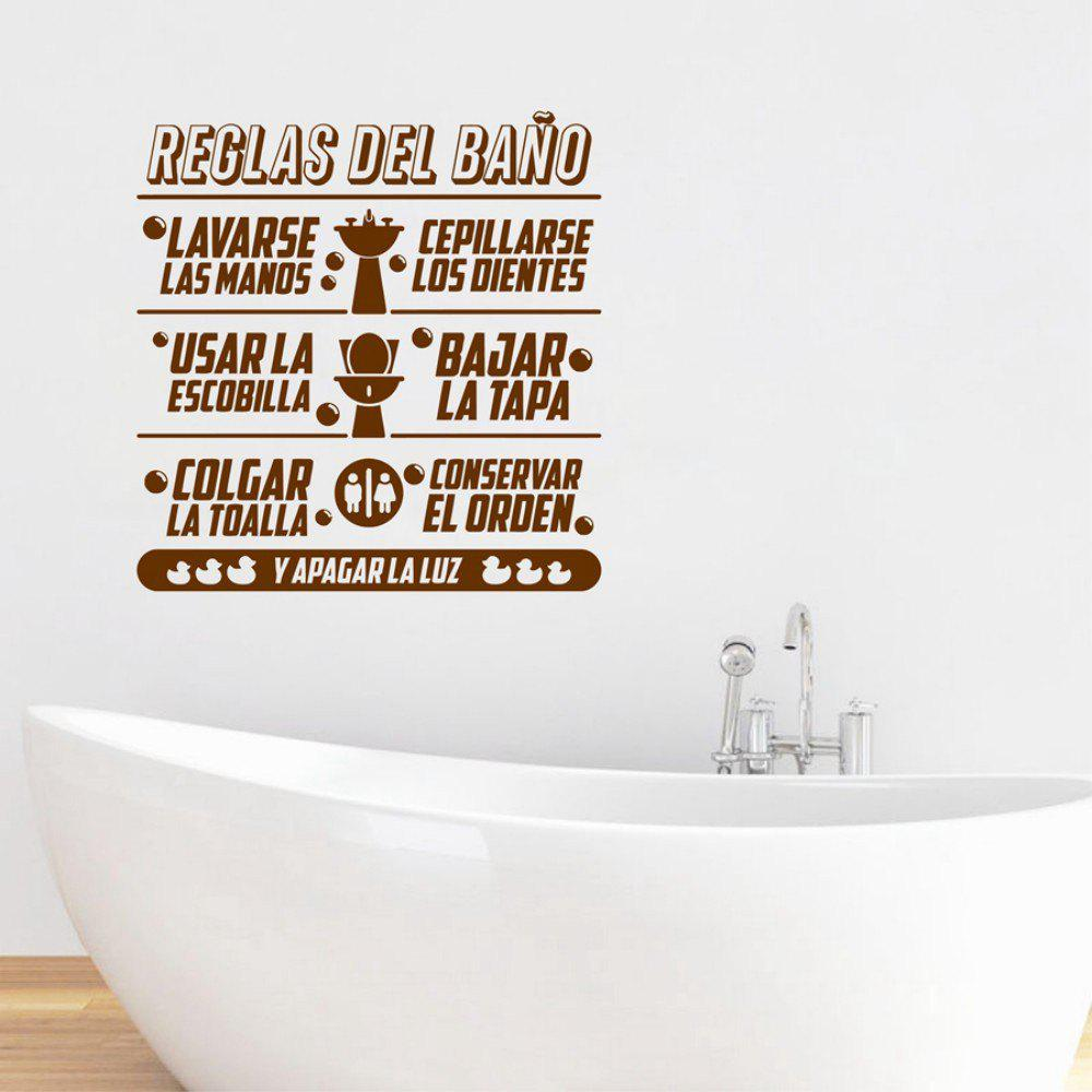 Bathroom Rules Spanish Quote Vinyl Wall Stickers Duck Wall Decals Espanol Lauguage Toilet Sticker Home Decor for Kids - BROWN 58 X 56CM