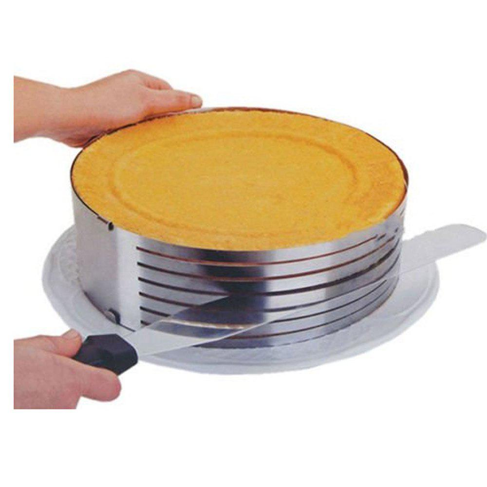 Stainless Steel Circular 6 inch-8 inch Adjustable 7 Layers Mousse Ring Cake Bread Slicer Cutter Mould Baking Tool настенный бордюр tubadzyn l steel 6 1 5x59 8 page 7