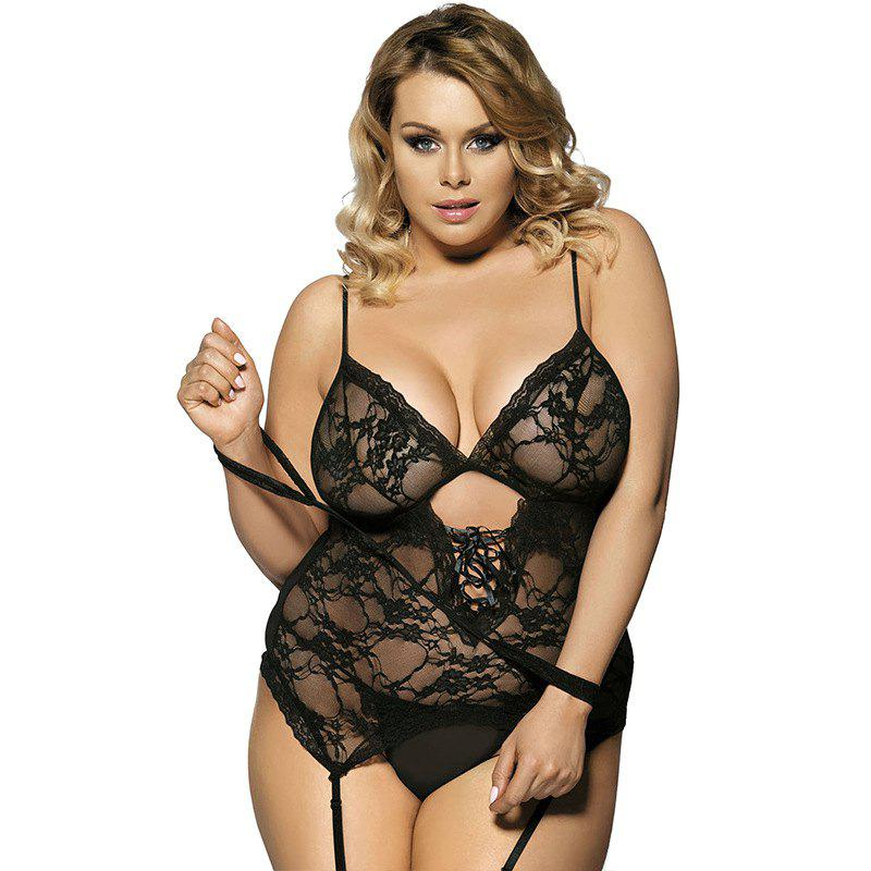 New Size Sexy Perspective Mesh Lace Pajamas Two-Piece Suit - BLACK XL
