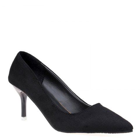 The New Fashionable Joker Pure Color with Suede in Women's Shoes - BLACK 40