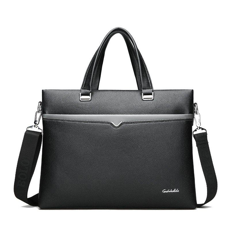 Handbag Shoulder Bag Casual Male Business Briefcase - BLACK