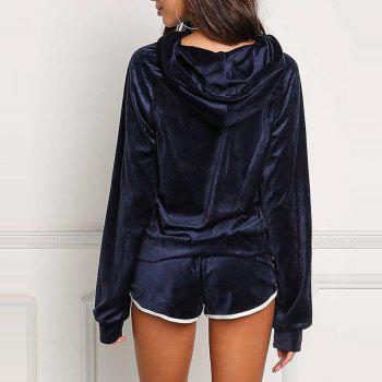 Hooded Casual Sport Outfits - CADETBLUE S