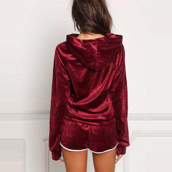 Hooded Casual Sport Outfits - BURGUNDY L