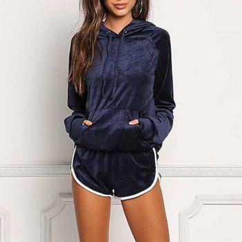 Hooded Casual Sport Outfits - CADETBLUE L