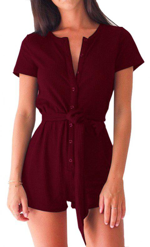 e4d07385acaf 2019 Casual Sexy Buttons Lace Up Slim Romper In BURGUNDY M ...