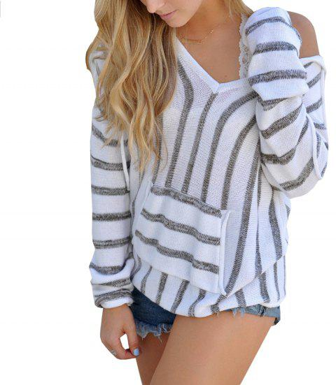 Hooded  Casual Stripe Sweater - GRAY S