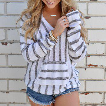 Hooded  Casual Stripe Sweater - GRAY XL