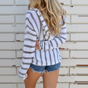 Hooded  Casual Stripe Sweater - GRAY L