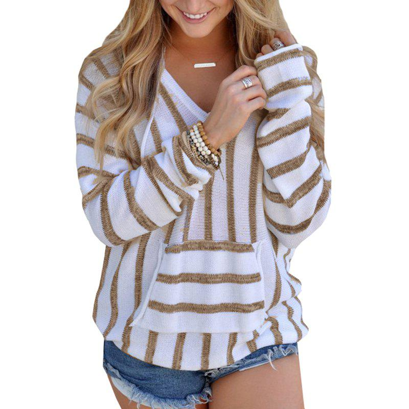 Hooded  Casual Stripe Sweater - KHAKI XL
