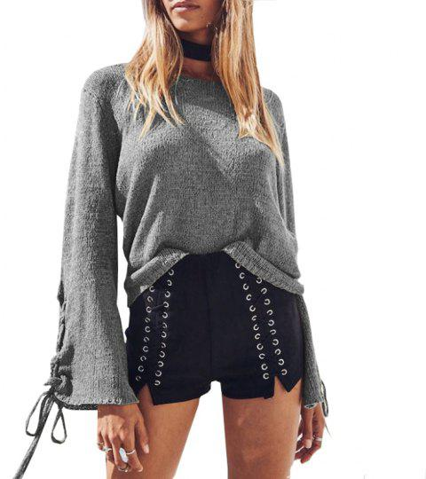 Round Neck Lace Up Sweater - GRAY S