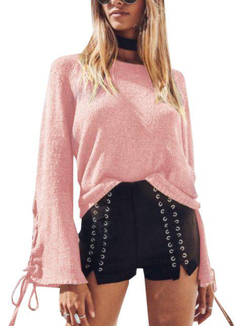 Round Neck Lace Up Sweater - PINK M
