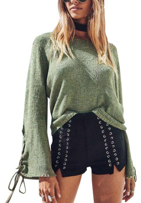 Round Neck Lace Up Sweater - GREEN XL
