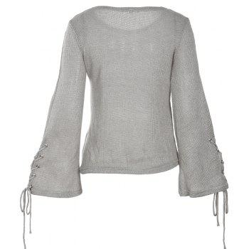 Round Neck Lace Up Sweater - GRAY L