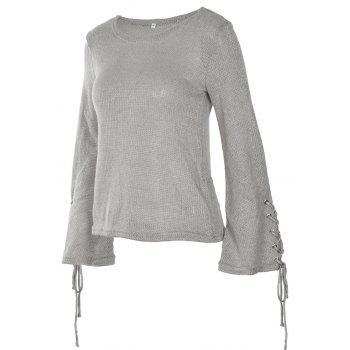Round Neck Lace Up Sweater - GRAY M