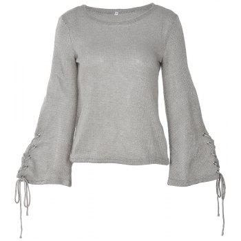 Round Neck Lace Up Sweater - GRAY XL