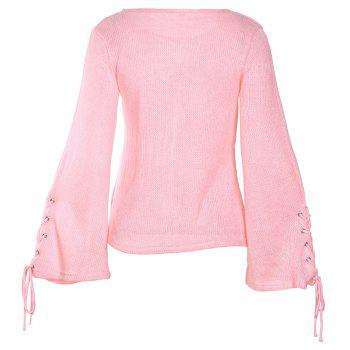 Round Neck Lace Up Sweater - PINK S