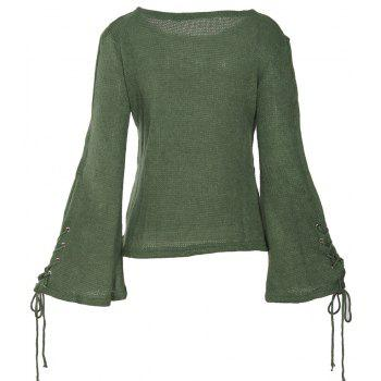 Round Neck Lace Up Sweater - GREEN M