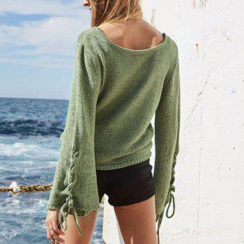 Round Neck Lace Up Sweater - GREEN S