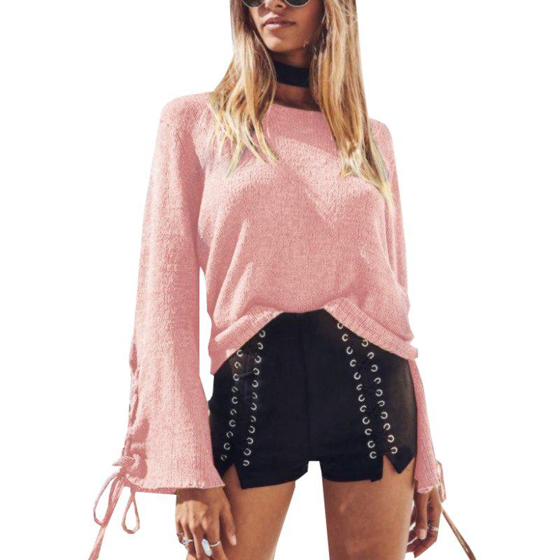 Round Neck Lace Up Sweater - PINK L