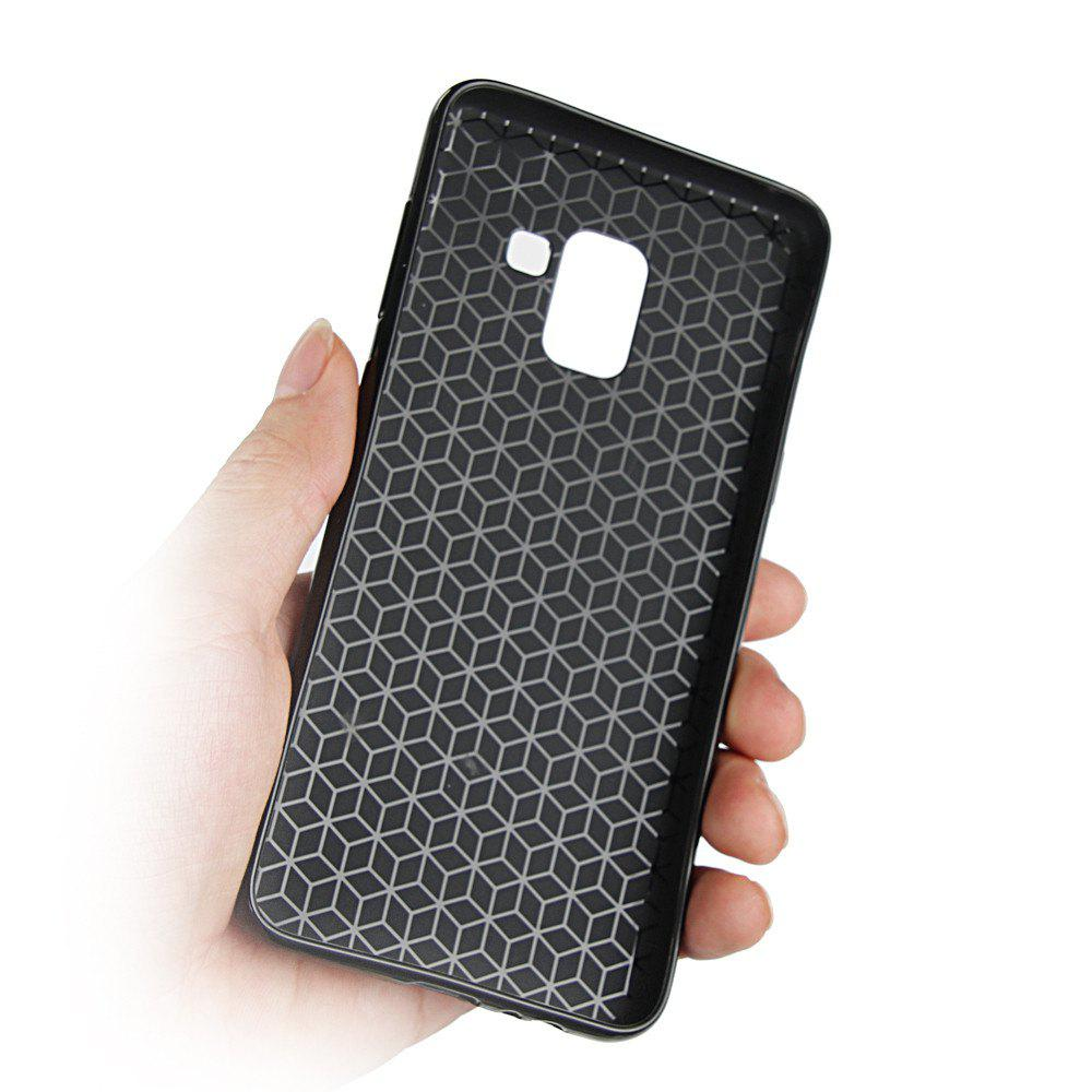 Cover Case for Samsung Galaxy A7 2018 Soft Carbon Fiber Luxury TPU - BLACK