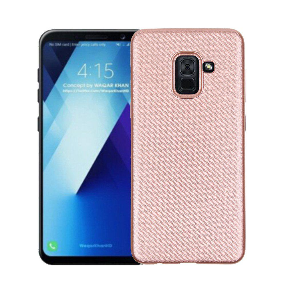 Cover Case for Samsung Galaxy A7 2018 Soft Carbon Fiber Luxury TPU - ROSE GOLD