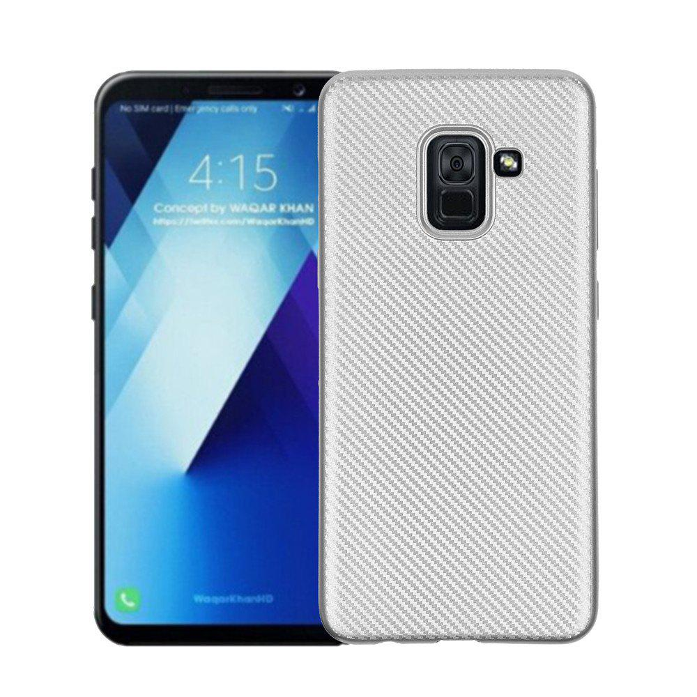 Cover Case for Samsung Galaxy A7 2018 Soft Carbon Fiber Luxury TPU - SILVER