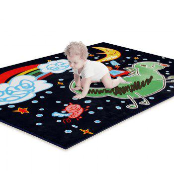 Plush Crawling Mat Cartoon Pattern Baby Playmat - BLACK BLACK