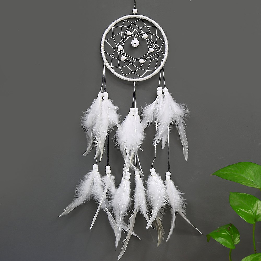 Dream Catcher vent Chime décoration à la maison Dreamcatchers avec blanc plume Tenture murale Dreamcatcher Blanc Nursery Car Gi - Blanc
