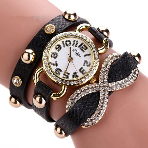 DUOYA D010 Women Leather Wrap Bracelet Wrist Watch with Diamond and Rivet - BLACK