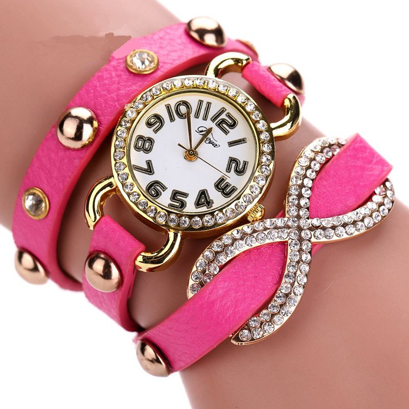 DUOYA D010 Women Leather Wrap Bracelet Wrist Watch with Diamond and Rivet - ROSE RED
