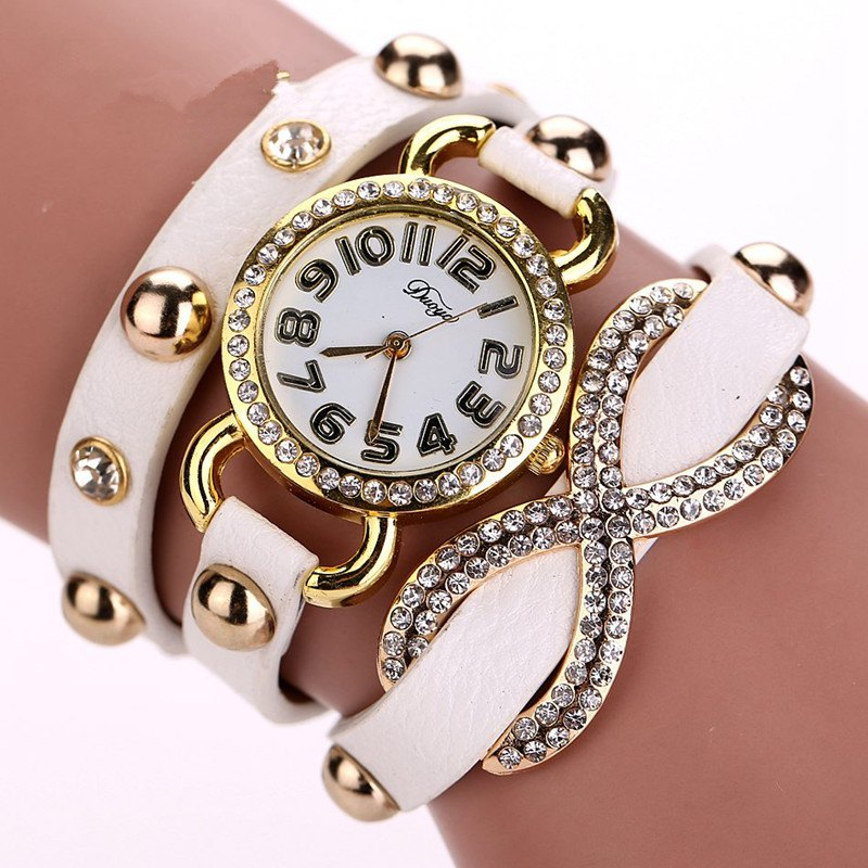 DUOYA D010 Women Leather Wrap Bracelet Wrist Watch with Diamond and Rivet - WHITE