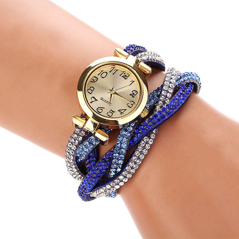 DUOYA D022 Women Full Rhinestones Analog Quartz Wrist Watch - BLUE