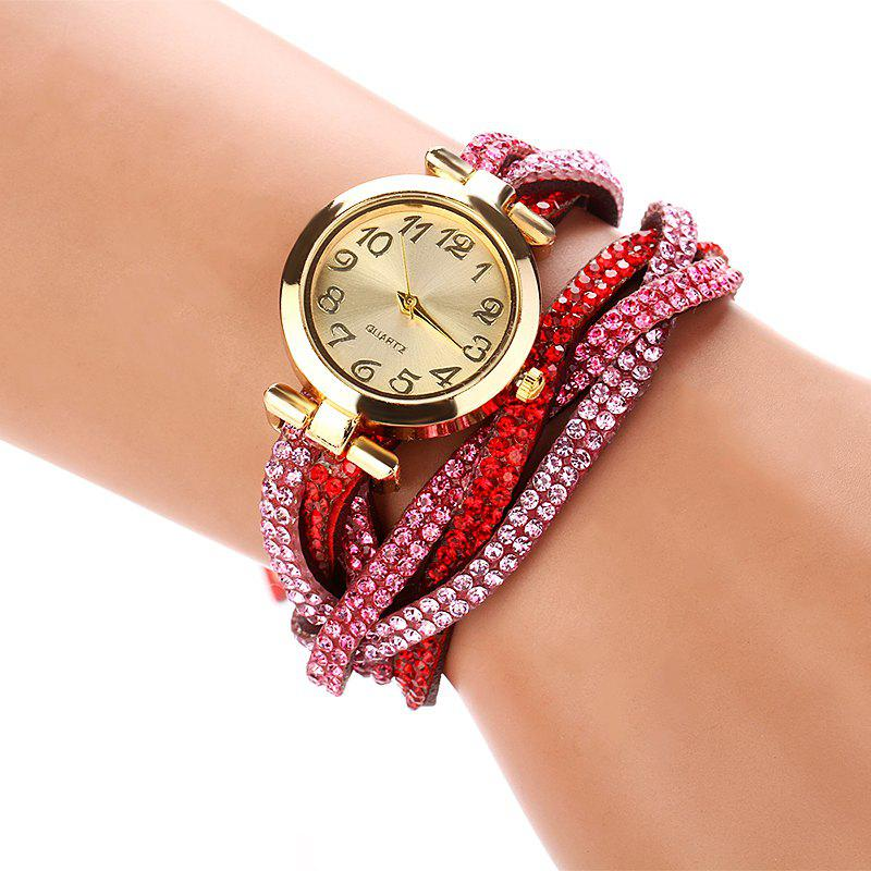 DUOYA D022 Women Full Rhinestones Analog Quartz Wrist Watch - RED