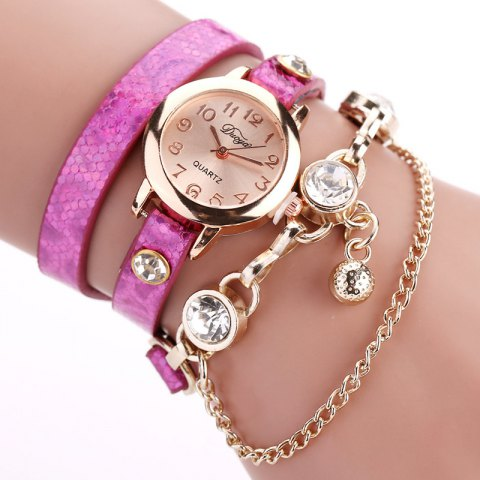 DUOYA D027 Women Arabic Numbers Leather Wrist Watch with Diamond - PURPLE