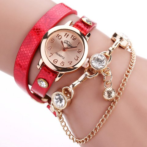 DUOYA D027 Women Arabic Numbers Leather Wrist Watch with Diamond - RED