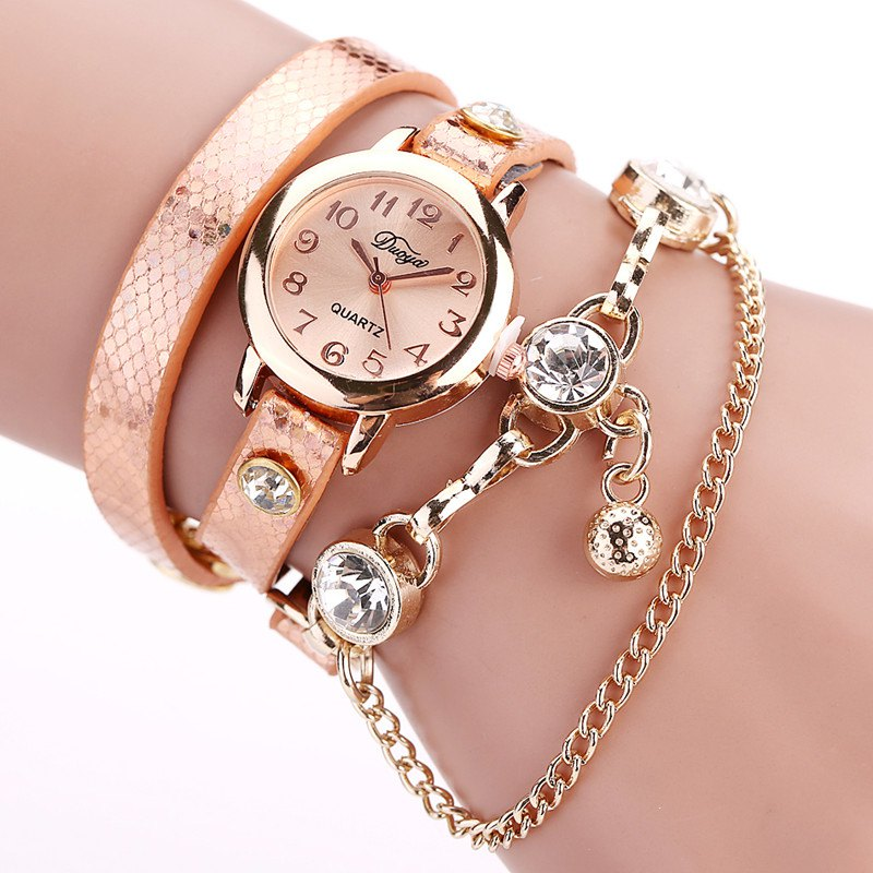 DUOYA D027 Women Arabic Numbers Leather Wrist Watch with Diamond - ORANGE