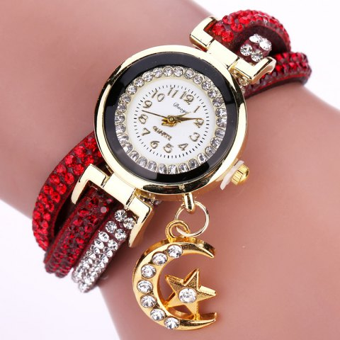DUOYA D039 Arabic Numbers Rhinestones Leather Wrist Watch with Moon Pendant - RED