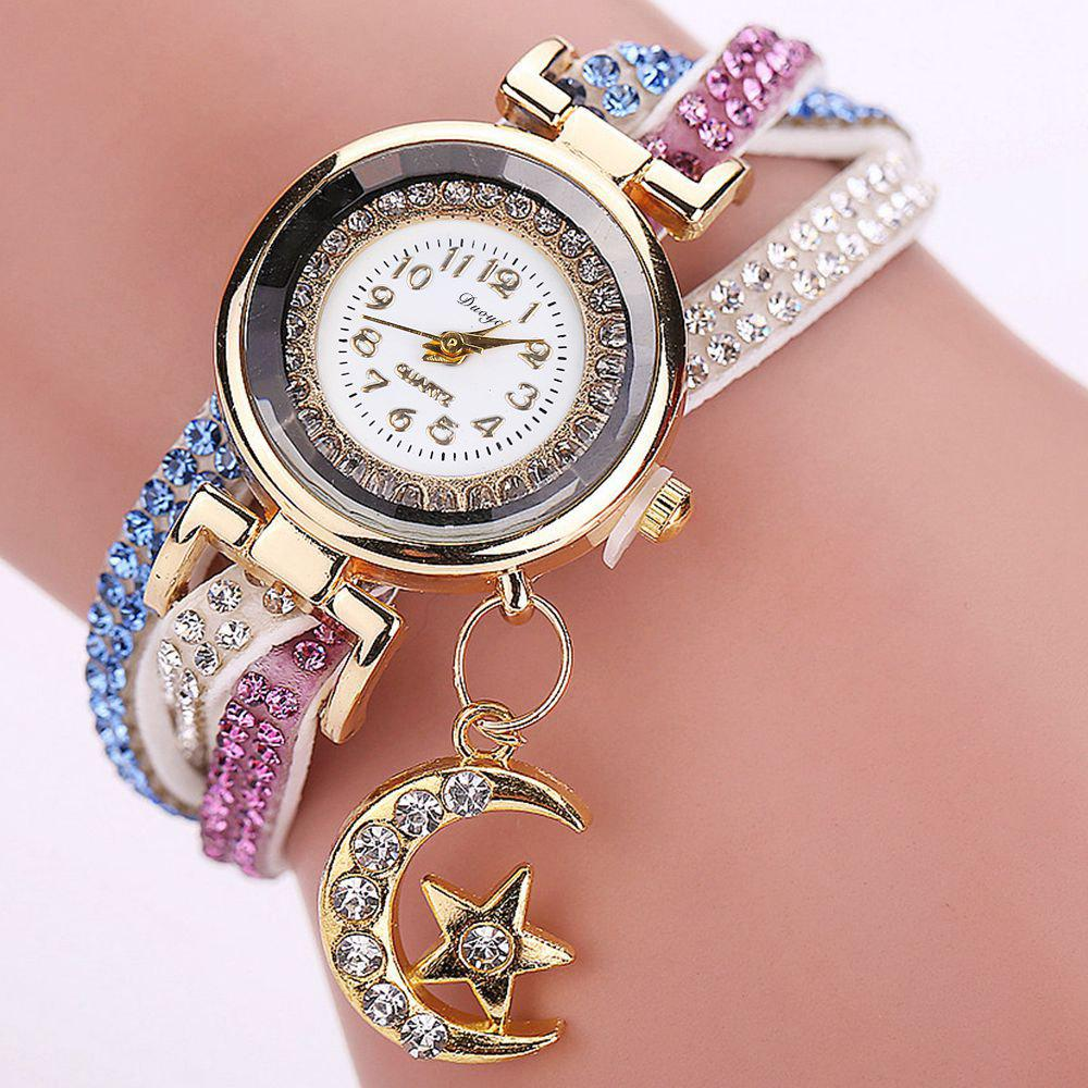 DUOYA D039 Arabic Numbers Rhinestones Leather Wrist Watch with Moon Pendant - WHITE