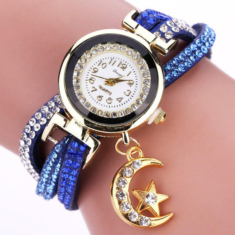 DUOYA D039 Arabic Numbers Rhinestones Leather Wrist Watch with Moon Pendant - BLUE