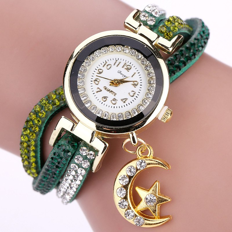 DUOYA D039 Arabic Numbers Rhinestones Leather Wrist Watch with Moon Pendant - GREEN