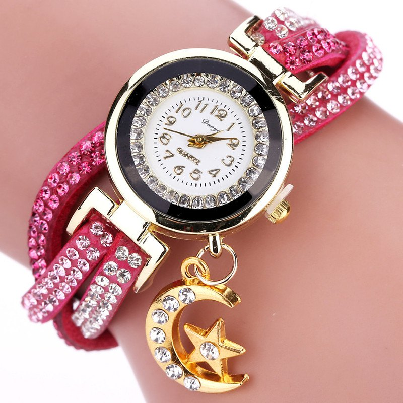 DUOYA D039 Arabic Numbers Rhinestones Leather Wrist Watch with Moon Pendant - ROSE RED