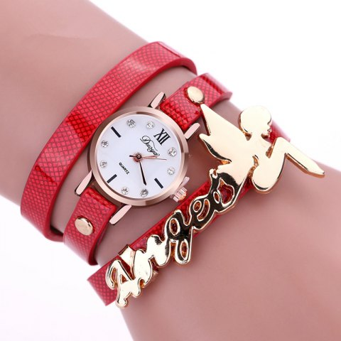 DUOYA D044 Women Long Wrap Leather Wrist Watch with Charm - RED